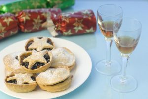 sherry, crackers and mince pies